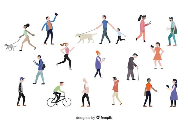 Le persone che fanno diverse azioni