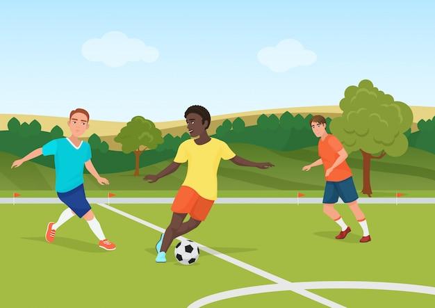 Le persone che giocano a calcio nello stadio di campo. illustrazione di vettore dei giocatori dell'uomo di calcio.