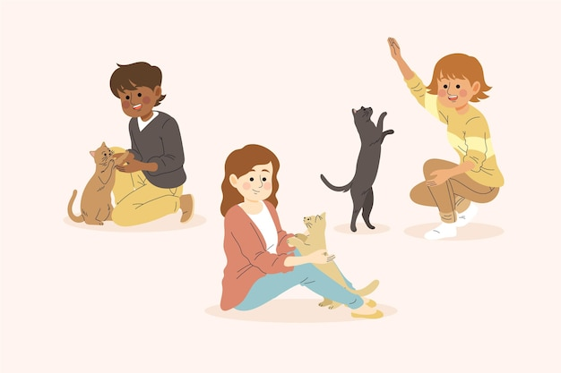 Le persone che giocano con il tema dei loro animali domestici