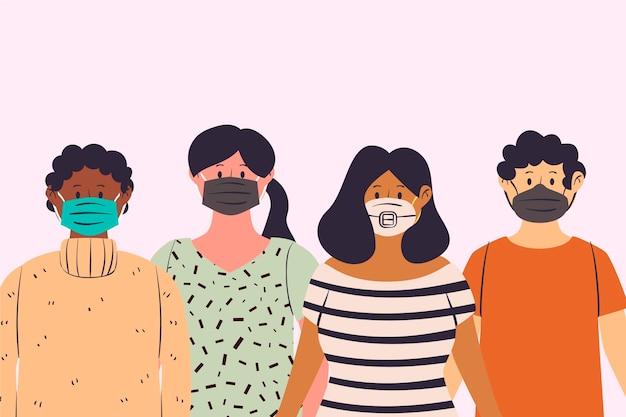 Le persone che indossano diversi tipi di maschere