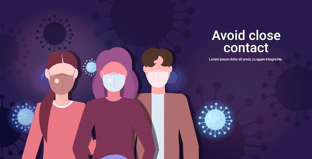 Le persone che indossano maschere mediche evitano il contatto ravvicinato con la prevenzione della quarantena del coronavirus 2019-ncov