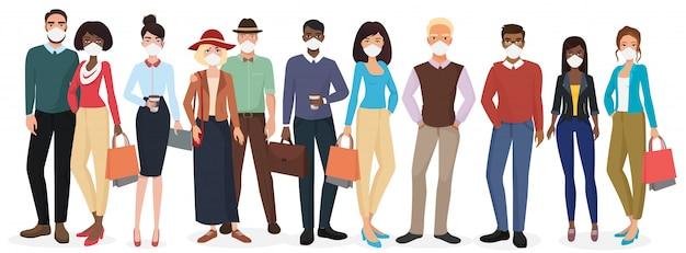 Le persone che indossano maschere per prevenire il coronavirus