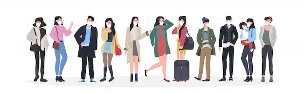 Le persone che indossano maschere per prevenire l'epidemia wuhan coronavirus pandemia rischio sanitario medico uomini donne gruppo in piedi insieme a figura intera orizzontale