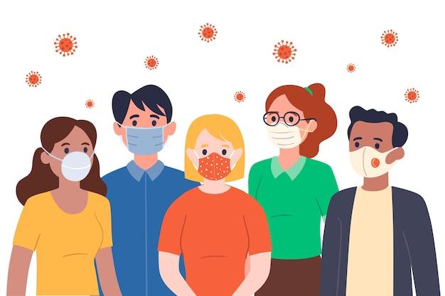 Le persone che indossano maschere