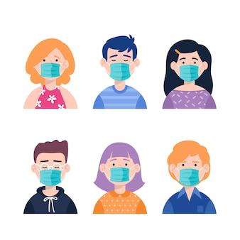 Le persone che indossano stile piatto maschera medica