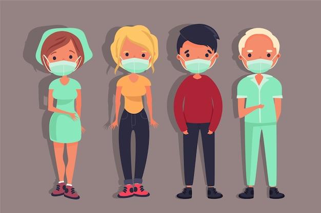 Le persone che indossano una maschera medica