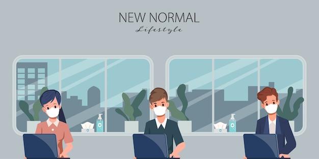 Le persone che lavorano in ufficio mantengono le distanze sociali. stop covid-19 coronavirus. nuovo stile di vita normale nel lavoro.