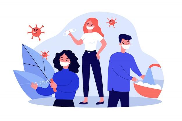 Le persone che praticano l'igiene per la protezione dal coronavirus