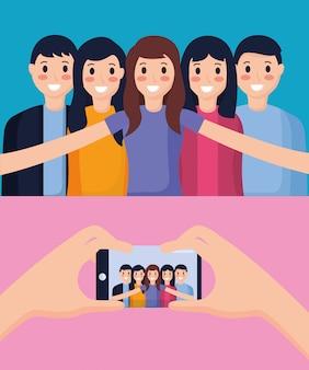 Le persone che prendono selfie
