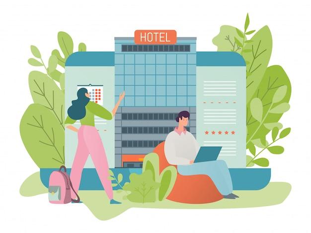 Le persone che prenotano una stanza in un edificio di un hotel via internet con l'aiuto di un servizio online, illustrazione in stile piatto.