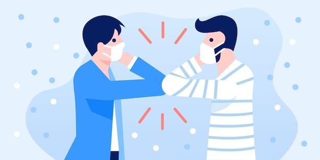 Le persone che salutano con la protuberanza del gomito per prevenire l'infezione da covid-19.