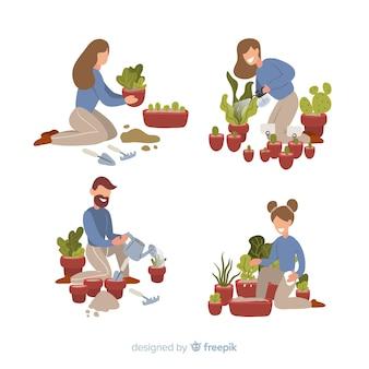 Le persone che si prendono cura delle piante