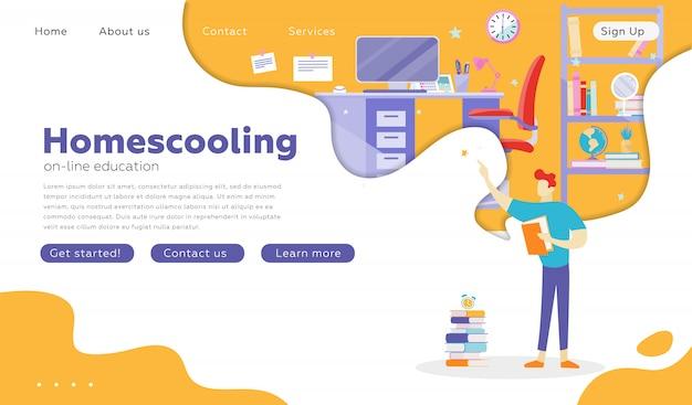 Le persone che studiano alla scuola online. modello di diapositiva di presentazione, landing page.