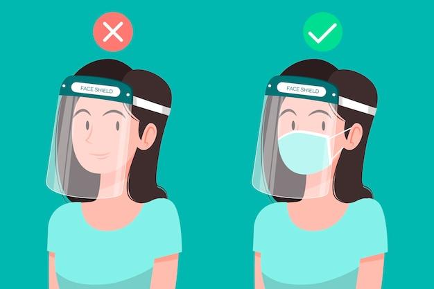 Le persone che usano la maschera facciale