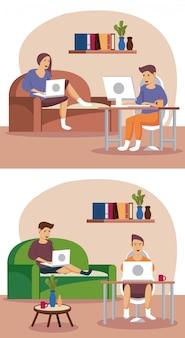 Le persone che usano la tecnologia lavorano a casa