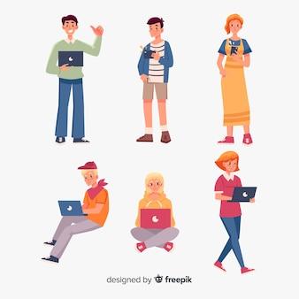 Le persone che utilizzano dispositivi tecnologici