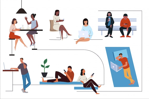 Le persone che utilizzano diversi gadget set di illustrazioni piatte