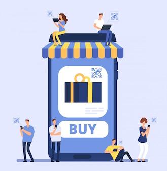 Le persone che utilizzano smartphone per lo shopping mobile.