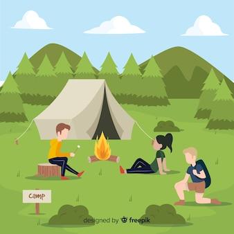 Le persone che vanno in campeggio design piatto