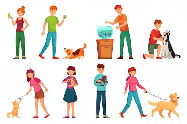 Le persone con animali domestici. giocando con l'insieme dell'illustrazione di vettore del fumetto dei proprietari felici del cane e dell'animale domestico