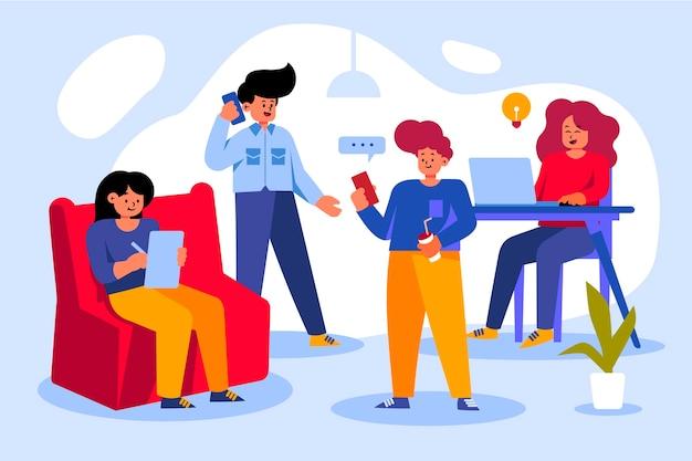 Le persone con dispositivi tecnologici illustrati
