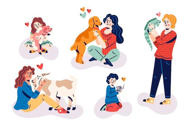 Le persone con diversi animali domestici design