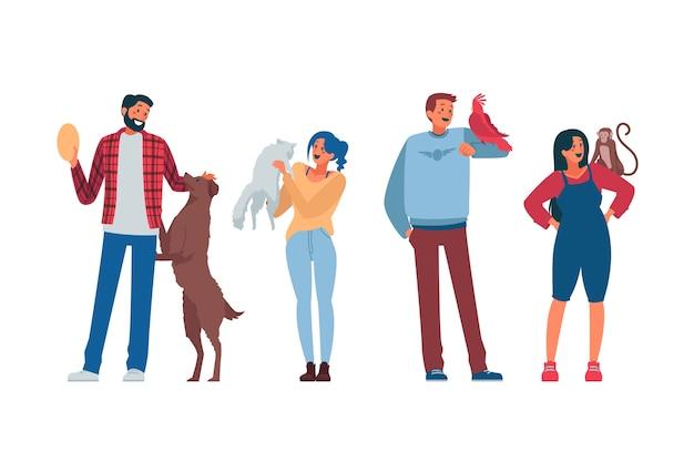Le persone con diversi animali domestici