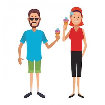 Le persone con gelato