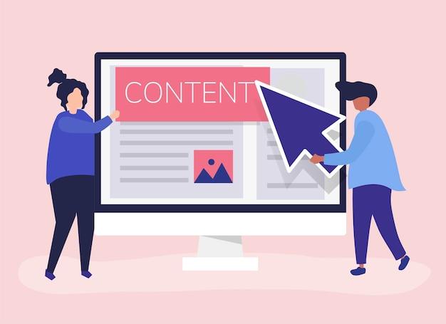 Le persone con il concetto di creazione di contenuti digitali