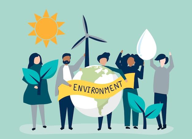 Le persone con il concetto di sostenibilità ambientale