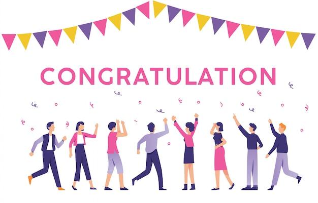 Le persone con il segno di congratulazioni