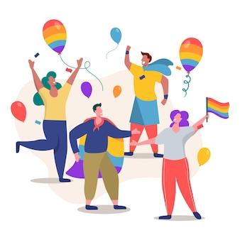 Le persone con palloncini giorno dell'orgoglio