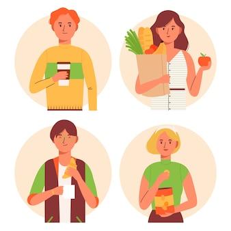 Le persone con set di cibo