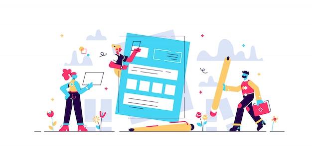 Le persone concettuali compilano un modulo, un modulo di domanda per l'impiego. le persone selezionano un curriculum per un lavoro per pagina web, presentazione, social media, documenti. dipendente illustrazione scrive un riepilogo
