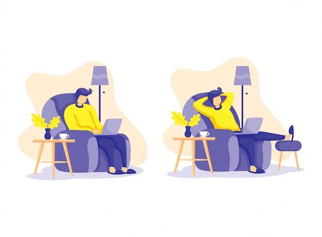 Le persone dei cartoni animati nel divano lavorano dall'illustrazione domestica