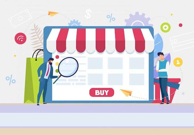 Le persone dei cartoni animati utilizzano l'applicazione per lo shopping online