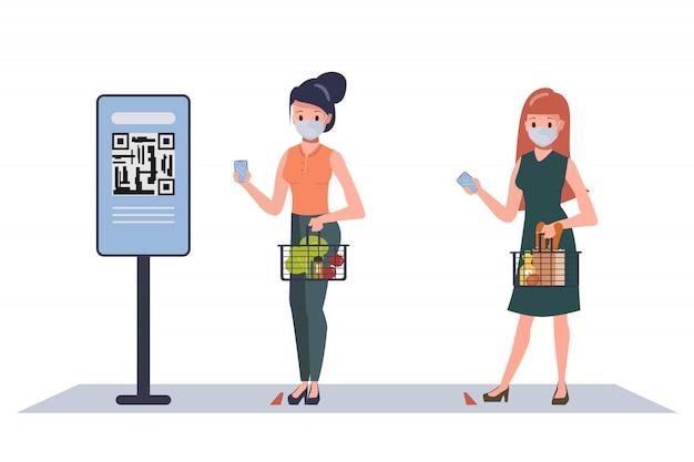 Le persone del cliente mantengono le distanze sociali nel supermercato e al sicuro mentre fanno acquisti. grande magazzino nel nuovo stile di vita normale. nuovo concetto di stile di vita normale.