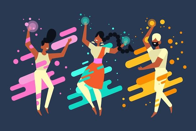 Le persone di festa di holi festeggiano e ballano