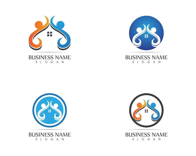 Le persone di salute si preoccupano del modello di progettazione di logo
