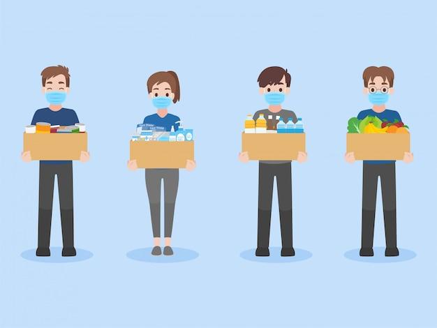 Le persone donano bevande, cibo in scatola e medicine