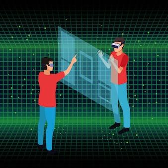 Le persone e la tecnologia degli occhiali per realtà virtuale