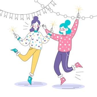 Le persone festeggiano insieme