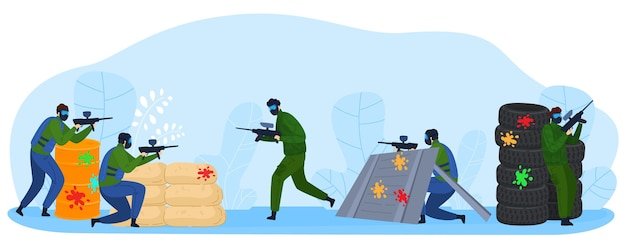 Le persone giocano a paintball gioco piatto illustrazione vettoriale. personaggi dei guerrieri combattenti del giocatore dei cartoni animati che sparano con armi da fuoco, giocando a paintball, combattimenti di sport militari