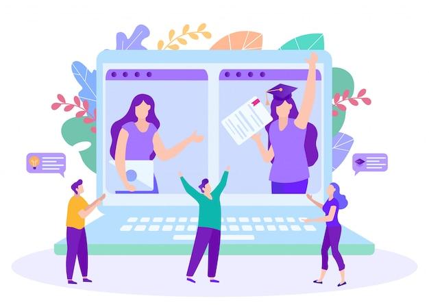 Le persone gioiscono per l'apprendimento a distanza. insegnamento a distanza. lezione online e-learning. formazione online. studenti felici