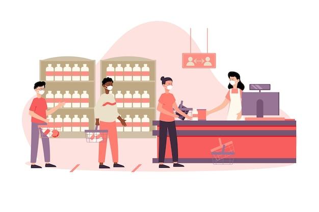 Le persone in fila per acquistare prodotti