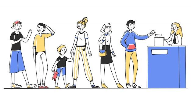 Le persone in fila per il servizio