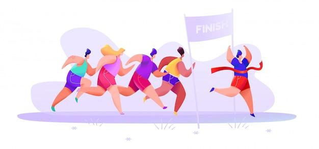 Le persone in pantaloncini sportivi e maglietta finiscono la maratona lungo la strada su una foresta astratta