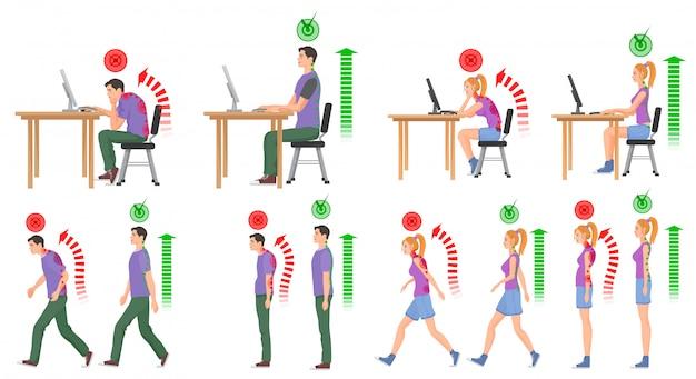 Le persone in posizioni corrette e sbagliate della colonna vertebrale