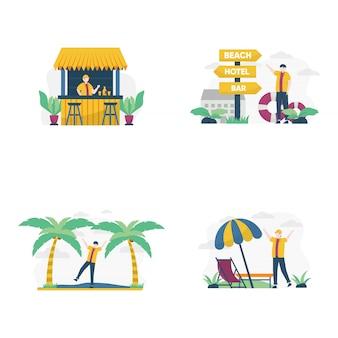 Le persone in vacanza estiva vanno in spiaggia per prendere il sole e festeggiare l'illustrazione,
