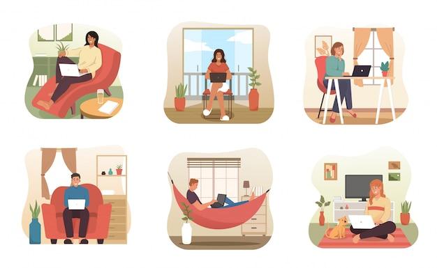 Le persone lavorano da casa. carattere di libero professionista che lavora al computer portatile a casa